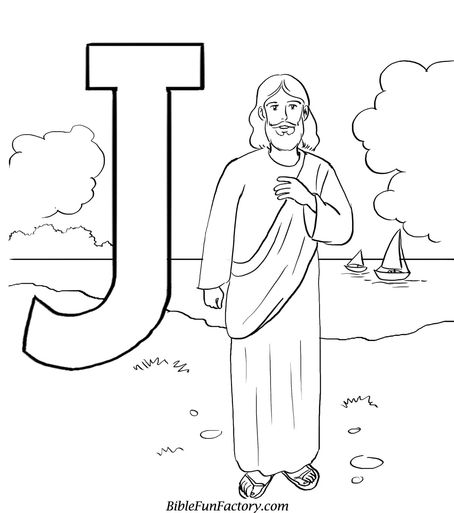 j for jesus coloring page