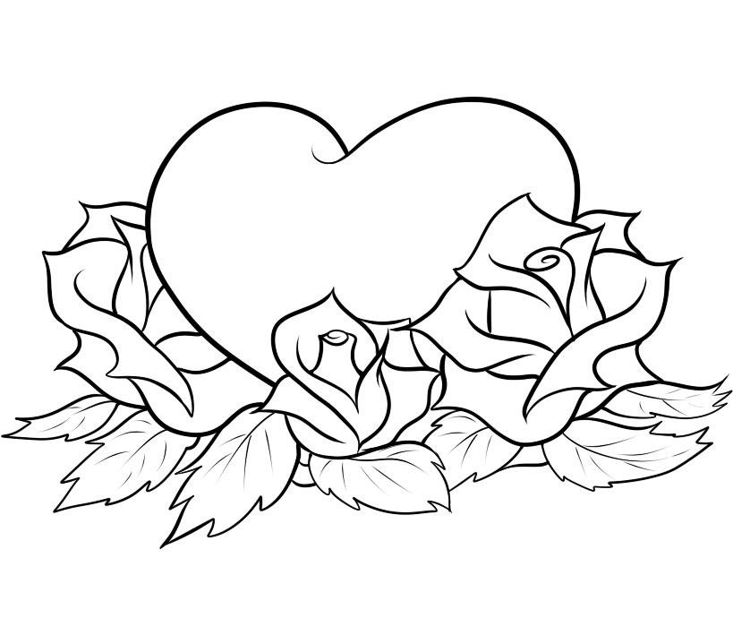 Roses Heart Coloring Page