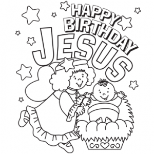 happy birthday christmas coloring page