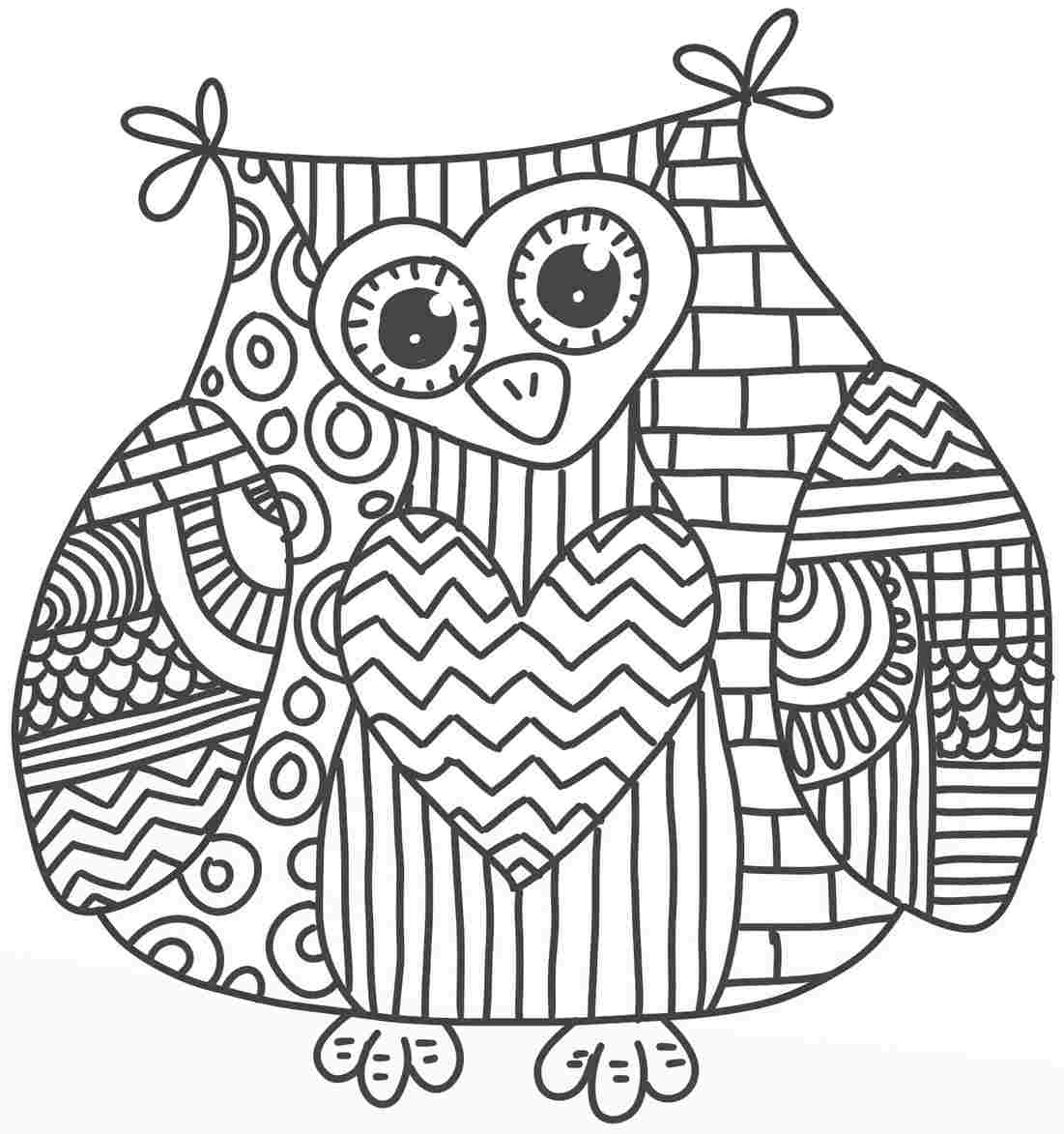 too hard owl coloring page