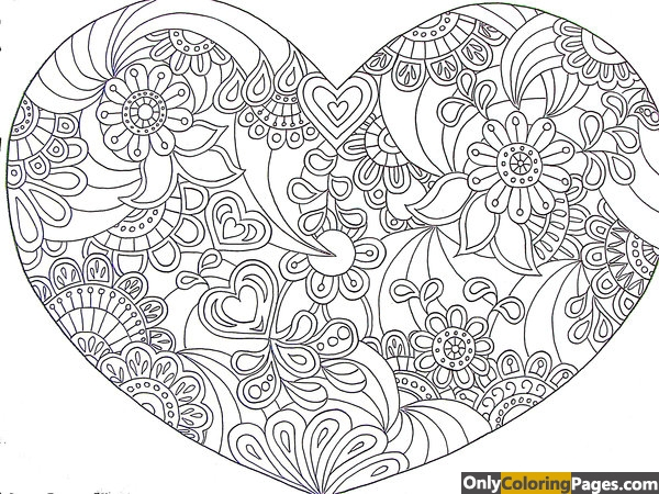 geometric heart coloring pages