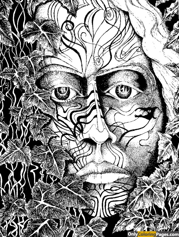 Aboriginal face adult coloring page