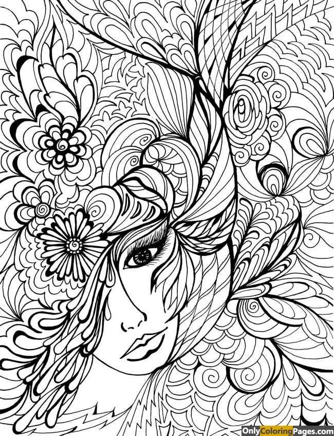 face coloring pages for adults