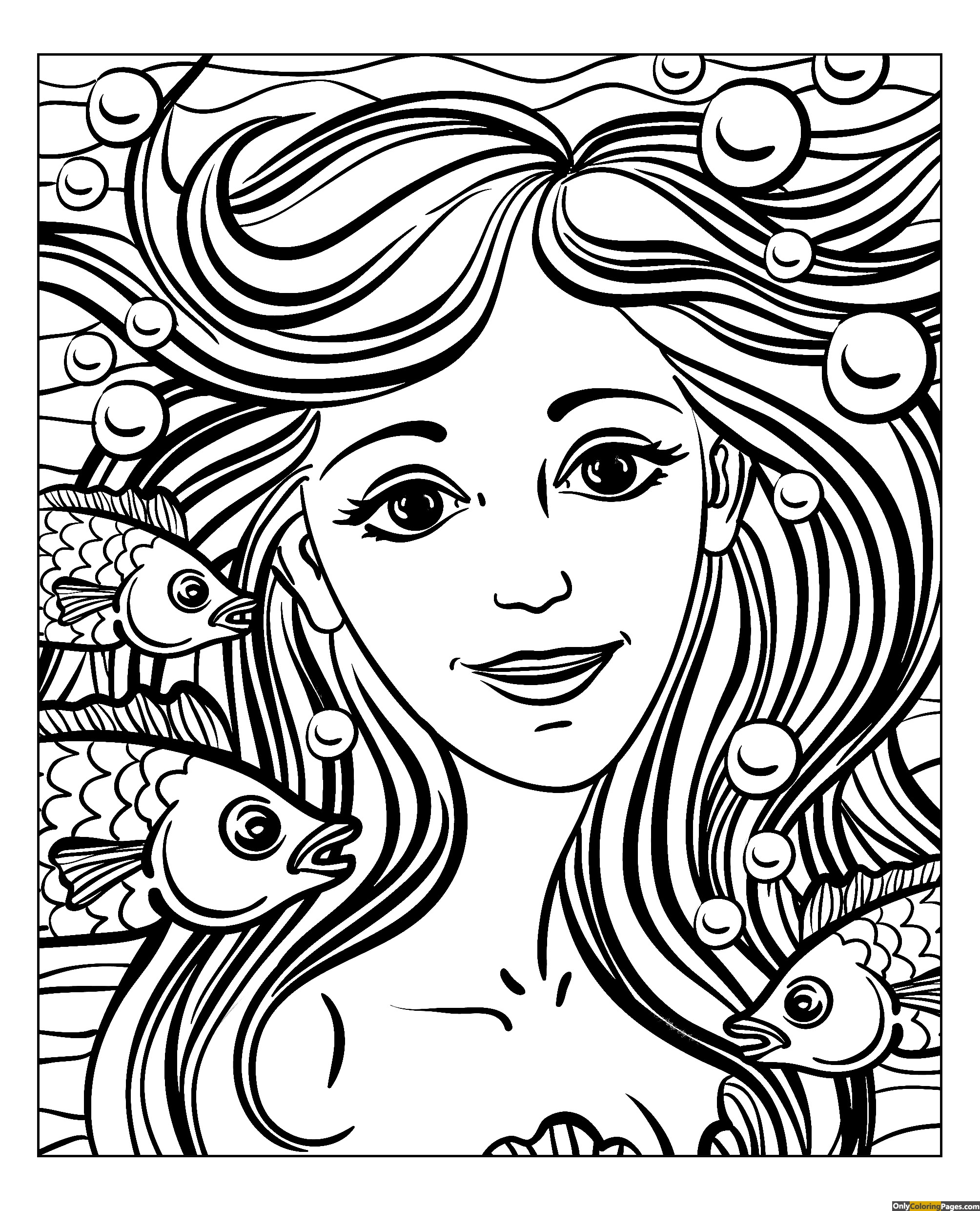 realistic girl face coloring page