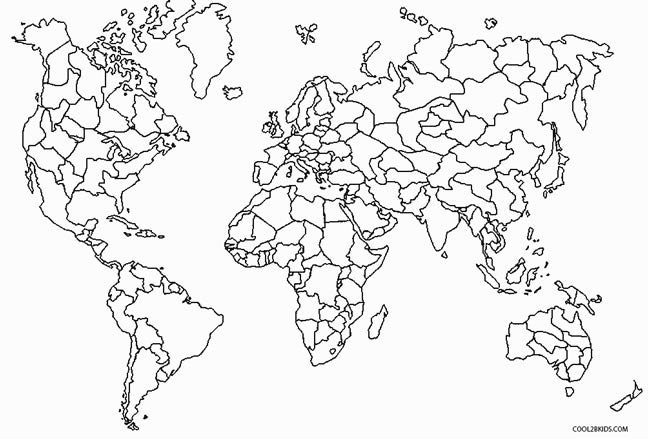 World Map Coloring Pages Countries