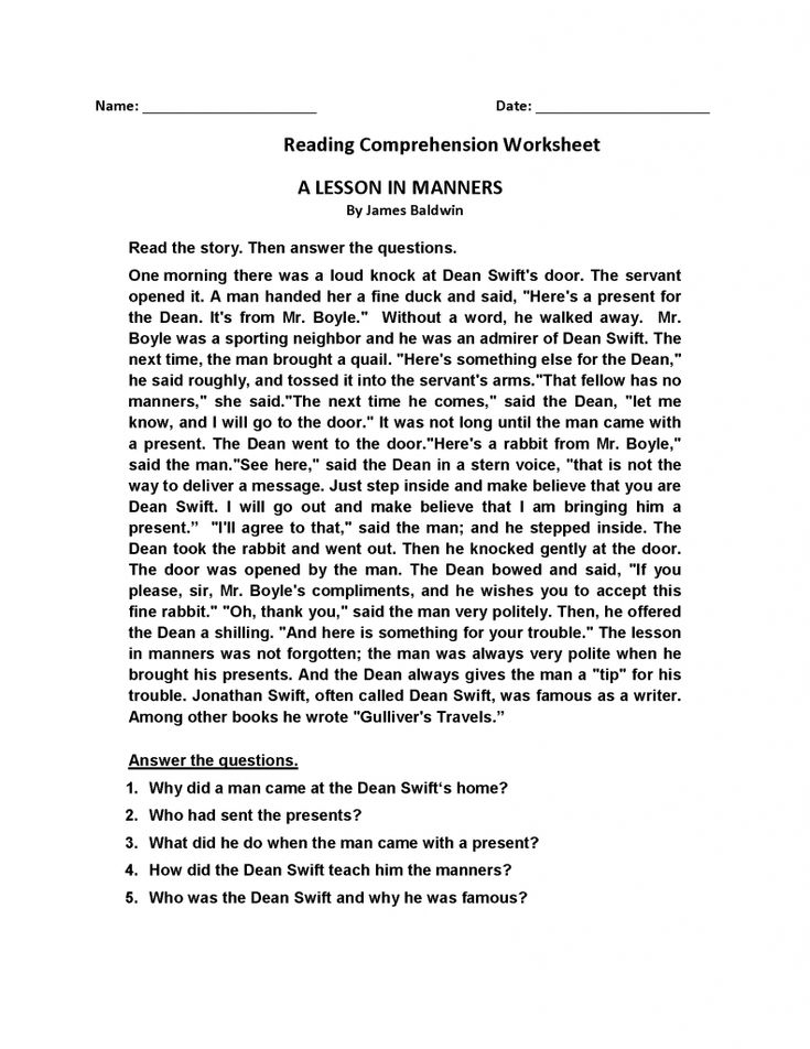 for adults 4th Grade Reading Comprehension Worksheets - Best Coloring P... easy