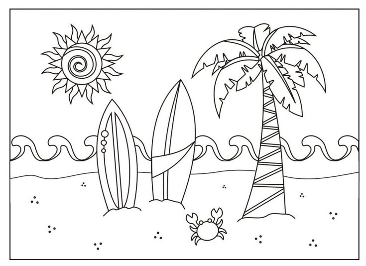 simple Summer Coloring Pages for Kids. Print them All for Free. to print out