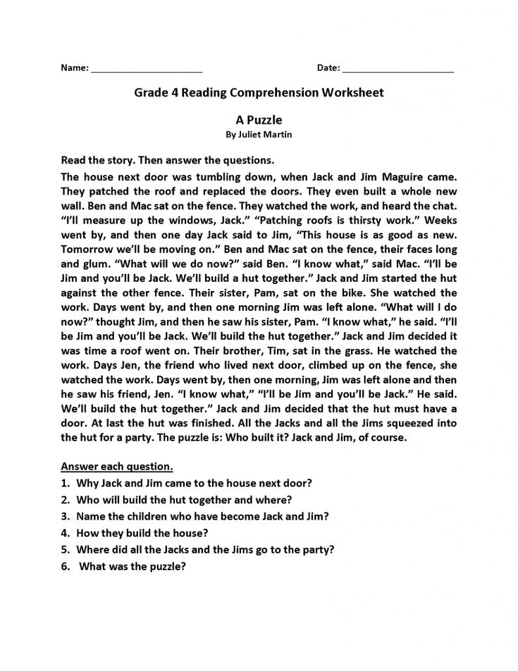 printable 4th Grade Reading Comprehension Worksheets - Best Coloring P... for sunday school