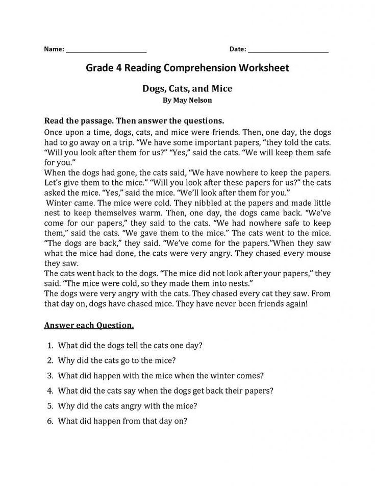 for teens 4th Grade Reading Comprehension Worksheets - Best Coloring P... toddler
