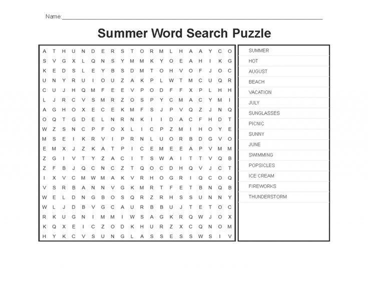 for girls Summer Word Search Puzzles - Best Coloring Pages For Kids for kids
