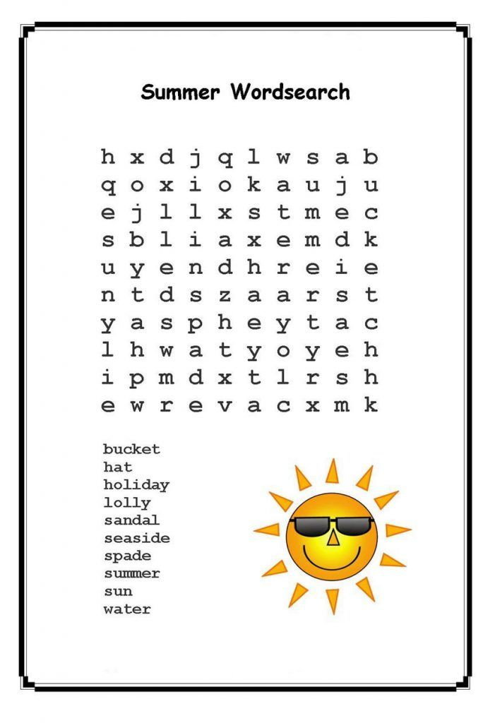 for kids Summer Word Search Puzzles - Best Coloring Pages For Kids already colored