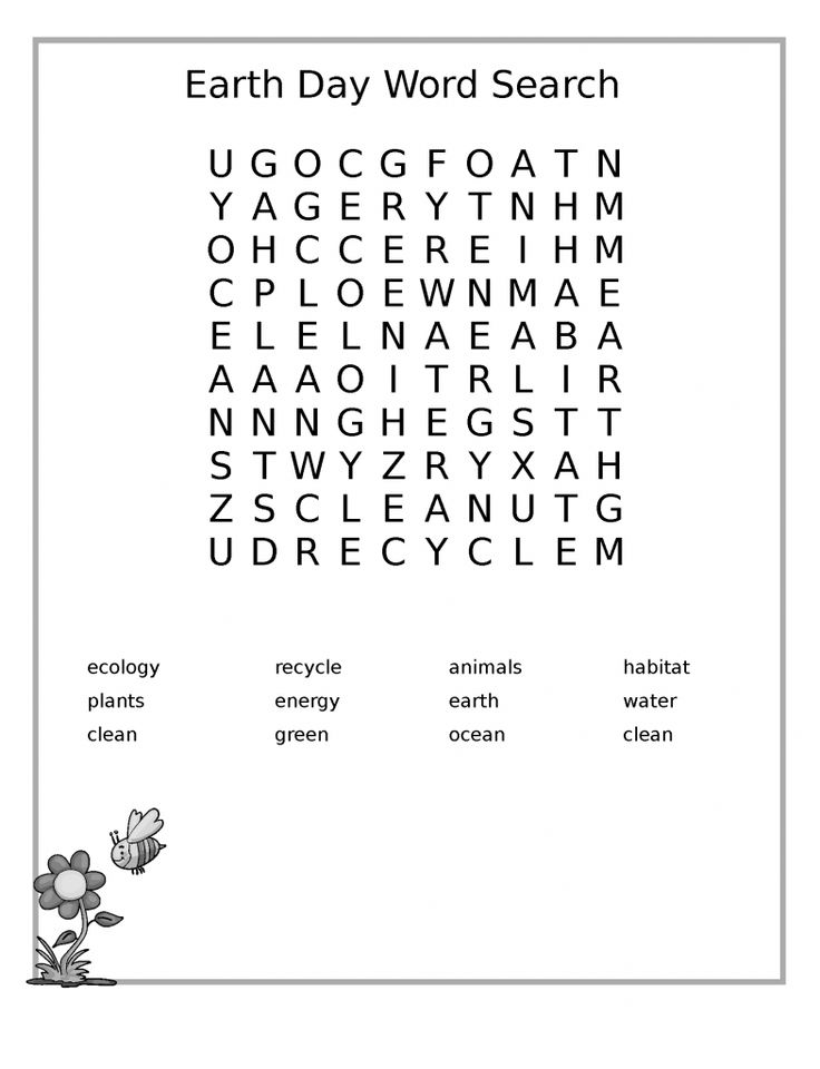 easy Earth Day Word Search - Best Coloring Pages For Kids toddler