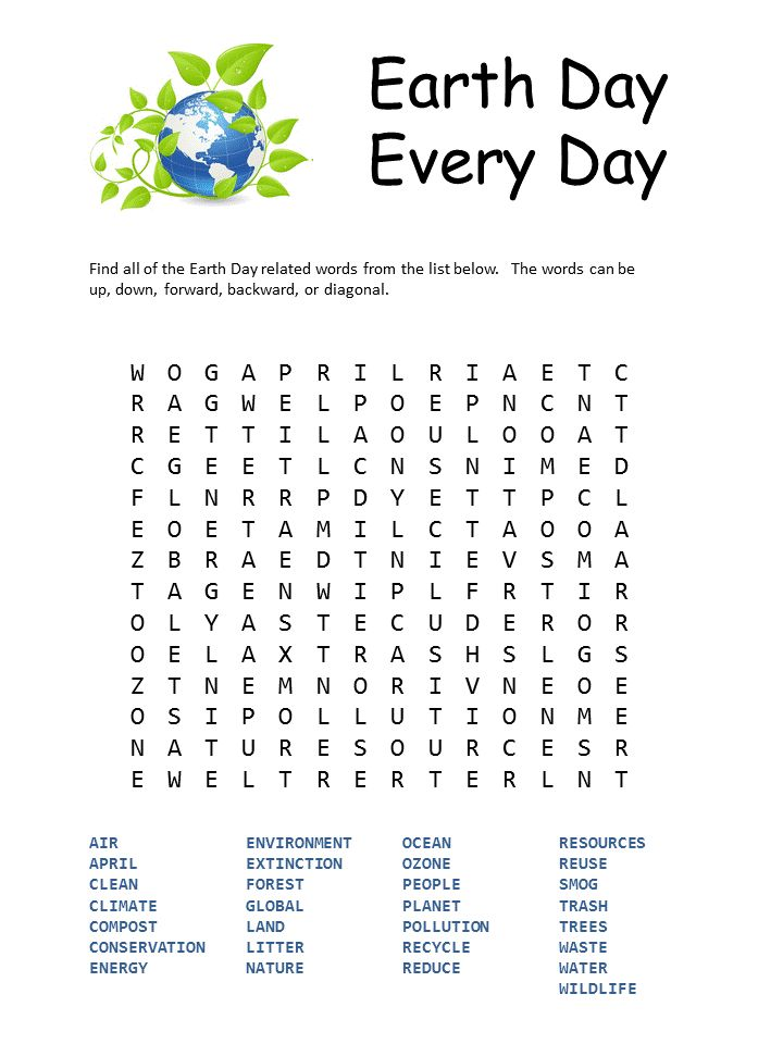 free printable Earth Day Word Search - Best Coloring Pages For Kids for boys