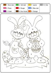 Free Easter Bunnies Color by Numbers for Kids 2019   Learning Printable